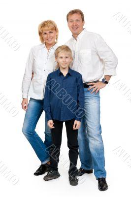 Happy family of three people in the studio
