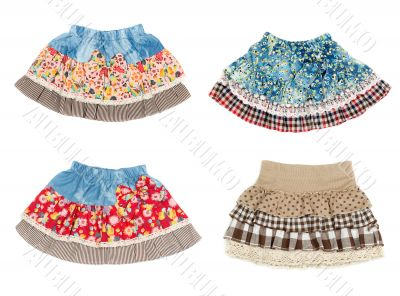 Collage of four miniskirt isolated on white background