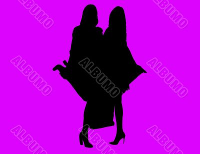 Vector, 2 girls with bags and shoes