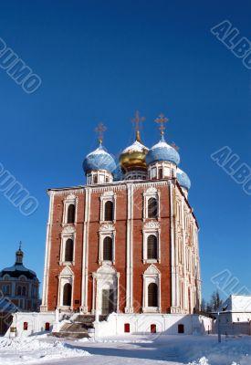 Golden domes of  Ryazan Kremlin