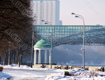 Embankment of the Moskva River in winter