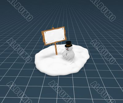 snowman and blank sign