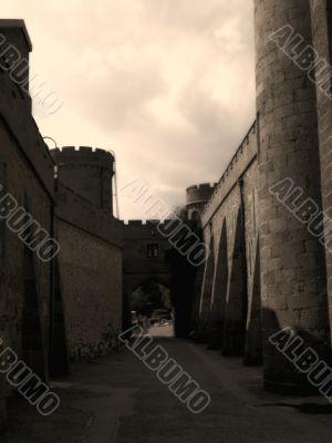 gloomy castle walls.