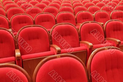 Background of red theatrical red chairs