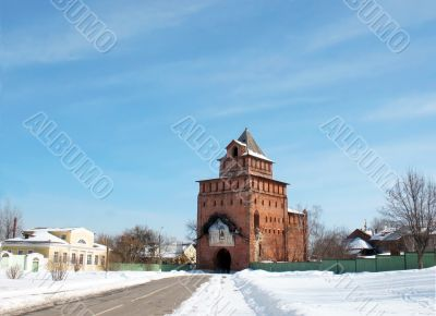 Wall tower of ancient fortress