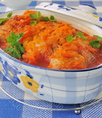 Stuffed cabbage stewed in tomato gravy