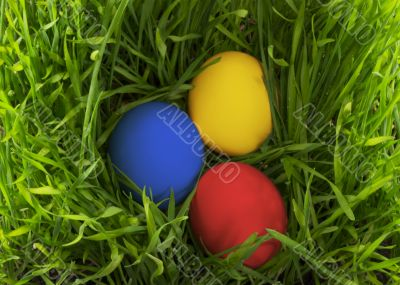 Easter eggs in the grass.