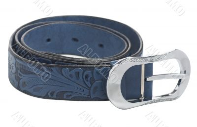 Blue Women`s leather belt, isolated