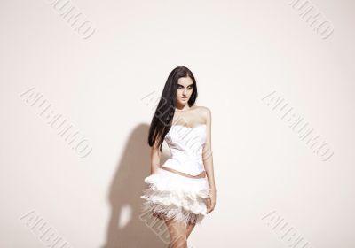 girl in a long white dress