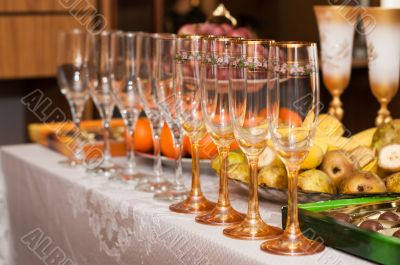 Wine glasses on the table