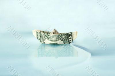 Ship made of money dollar