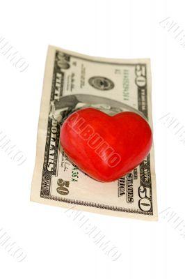 fifty dollar bill heart