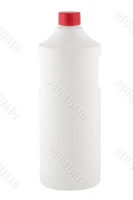 white plastic bottle red cap
