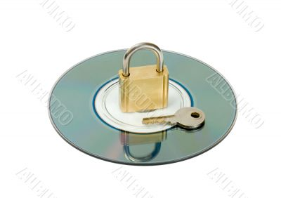 padlock key in CD disc