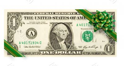 US dollars with green bow