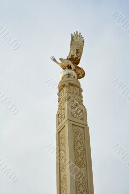 Memorial monument of an eagle with spread wings