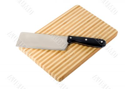 Meat-cleaver and chopping board