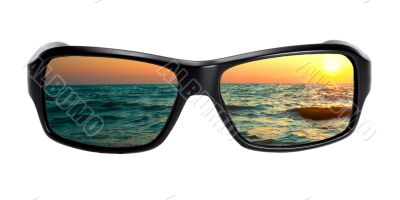 seascape reflection in spectacles