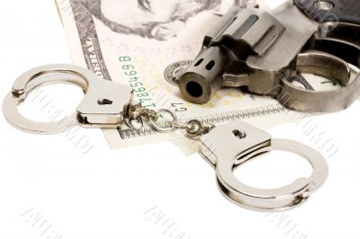 Pistol handcuffs money