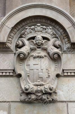 detailed old heraldry of Barcelona