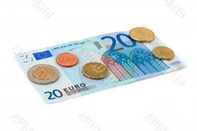 Euro coin heap isolated on white