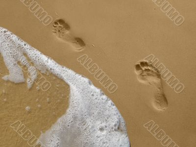 Footprints on the Beach with Water
