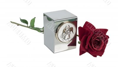 Child`s Urn with Angel Image and Rose