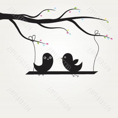 Cute greetings card with birds on a swing