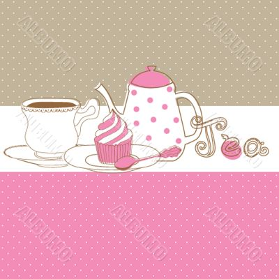Card with tea cap, pot and sweet cupcake