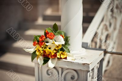 Bouquet on a handrail