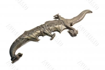 Short sword and the sheath executed in the form of a dragon on a
