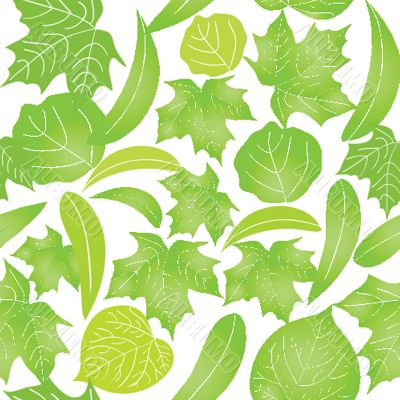 Seamless with green leaves on white background