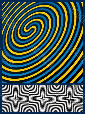 Optical Illusion Background. Three spiral patterns. Vector Illus