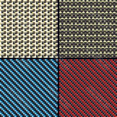 Carbon fiber, kevlar and decorative seamless patterns set