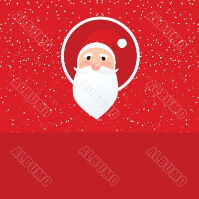 Christmas card with Santa Klaus face
