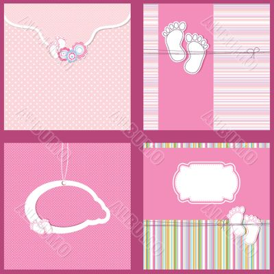 Set Vintage baby girl arrival announcement card.