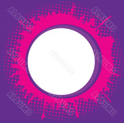 Abstract round frame with ink spots .