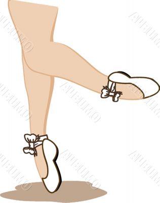 Detail of ballet dancer`s feet isolated on white