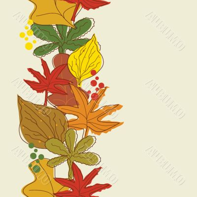 Vertical seamless border with autumn background.