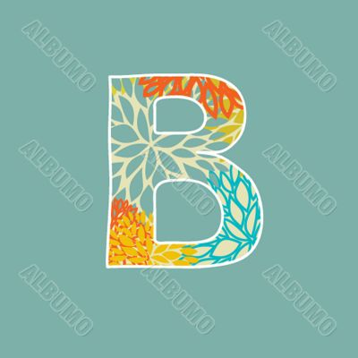 Hand drawn floral letter isolated on blue background. Vintage vector alphabet