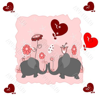 Lovers elephants with hearts and flowers