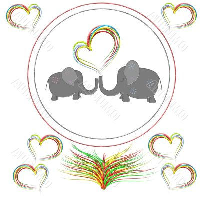 Lovers elephants with hearts in the round frame