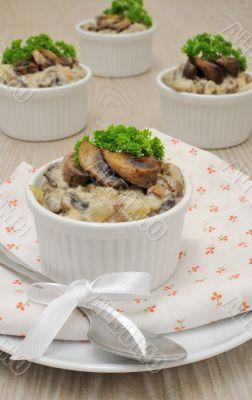 Mushrooms in a creamy sauce