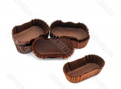 Brown chocolate rectangular baking paper cups