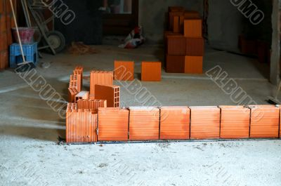 Row of hollow brick