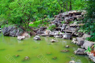 Green Japanese pond