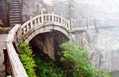 Stone bridge in Huangshan mountains