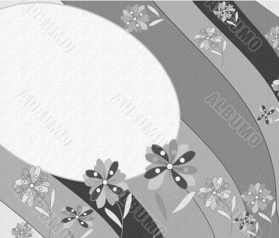 Beautiful black and white background with abstract flowers and place for text