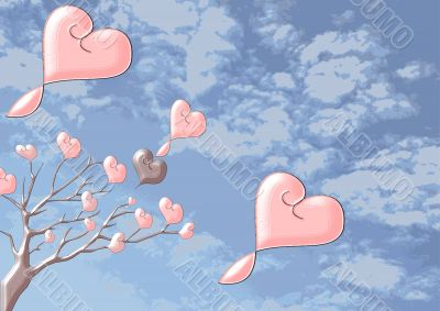 Beautiful brilliant trees with hearts on a background the cloudy sky