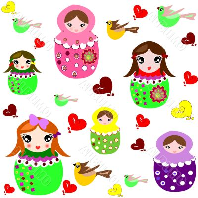 Beautiful background with dolls, birds and hearts